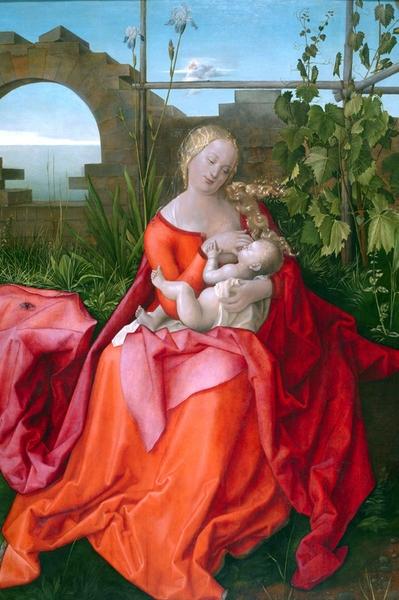 Dentro la bellezza (14) Bottega di Albrecht Dürer, 1471–1528 Vergine con il Bambino (o Madonna con l'Iris) 1500-10 circa, National gallery Londra