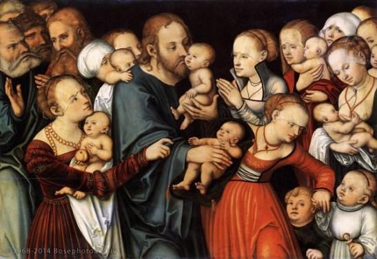 XIV Chranach Lucas il vecchio, Cristo benedice i fanciulli, 1535-40, olio e tempera su tavola, 84 x 122 cm, Städelsches Kunstinstitut, Francoforte