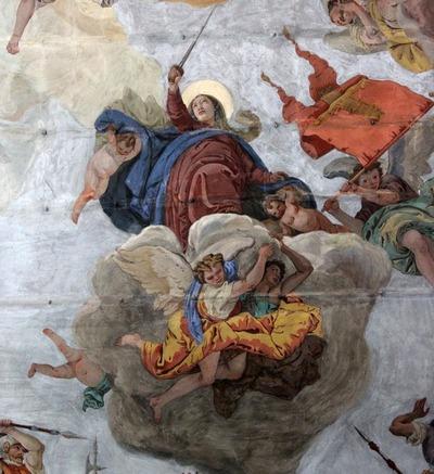 Chiesa della Madonna della Difesa, Cortina d'Ampezzo, Particolare dell'affresco attribuito a Giovan Battista Tiepolo, La Battaglia del passo di Cimabanche. XVIII sec.