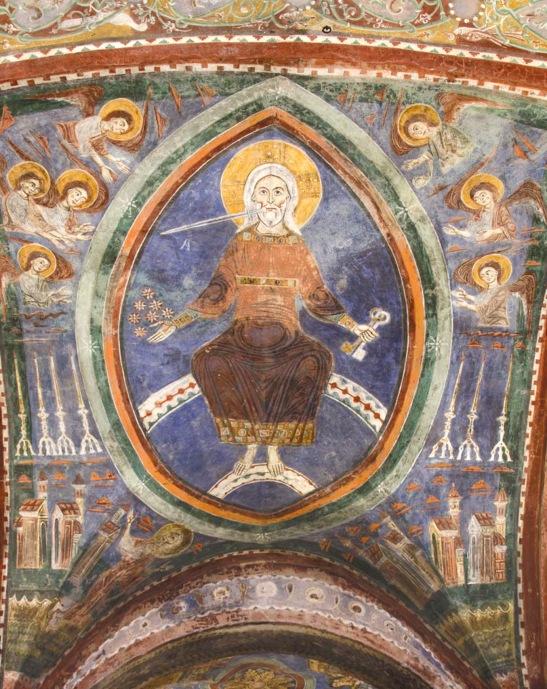 Cripta della Cattedrale di Agnani, Frosinone, affresco del XIII sec, Il Cristo Giudice, particolare.
