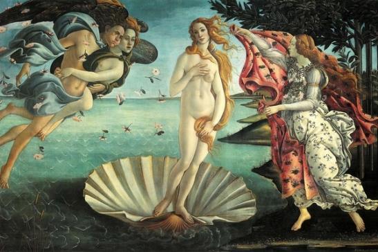 Sandro Botticelli Nascita di Venere 1482–1485 circa tempera su tela 172 cm × 278 cm Galleria degli Uffizi, Firenze