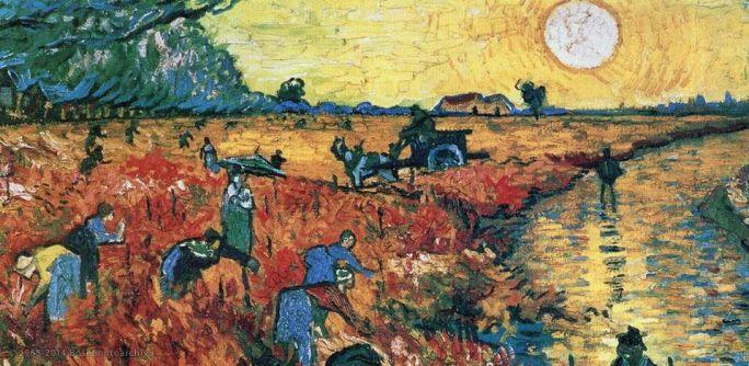 Vincent van Gogh, Il vigneto rosso, Novembre 1888, Arles, Museo Pushkin, Mosca (particolare)