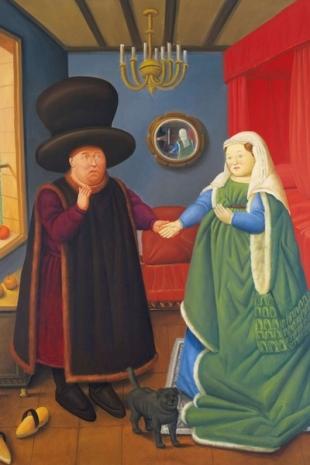 Dentro la bellezza (26) Fernando Botero Gli sposi Arnolfini dopo van Eyck, olio su tela, 1978