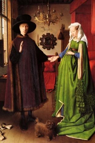 Dentro la bellezza (26) Jan Van Eyck, Ritratto dei Coniugi Arnolfini 1434, olio su tavola 81,8 cm × 59,4 cm National Gallery, Londra