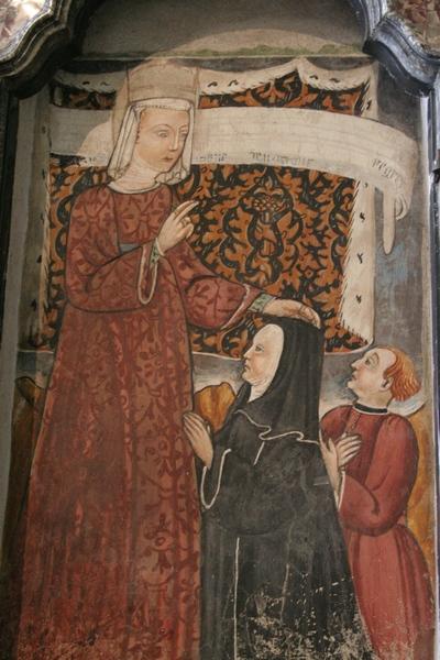 Dentro la bellezza (27) Santa Guglielma benedice Maifreda e Andrea Saramitano, Chiesa di San Andrea, Brunate (CO) affresco XV