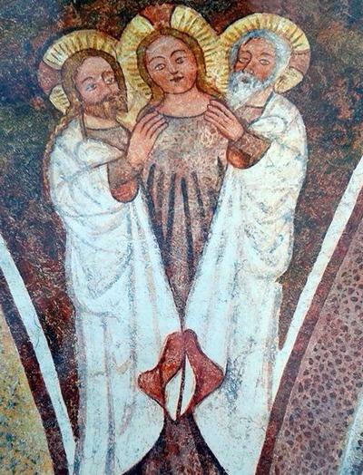 Dentro la bellezza (27) Trinità tricefala, affresco IX secolo, chiesa di San Giacomo Urschalling, Prien, Bavaria.