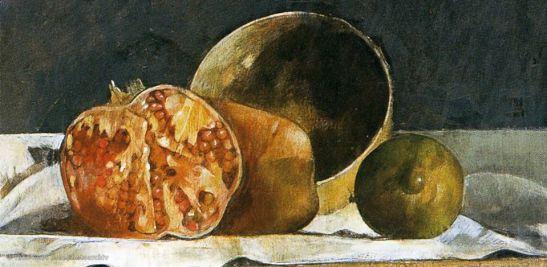 Giorgio Scalco, Melagrane e limoni (part.), olio su tela, 1991