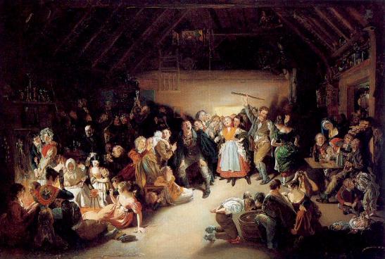 Halloween in Irlanda in un quadro di Daniel Maclise (1832) Snap-Apple Night (pesca della mela e giochi divinatori presso Blarney).