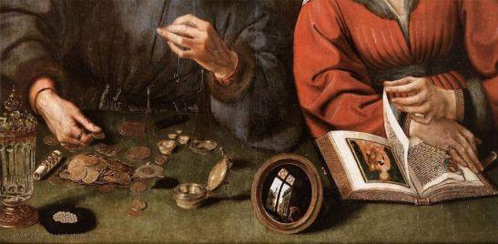 Quentin Massys, Il bancario e sua moglie (particolare), olio su tavola, 1514, Musée du Louvre, Parigi