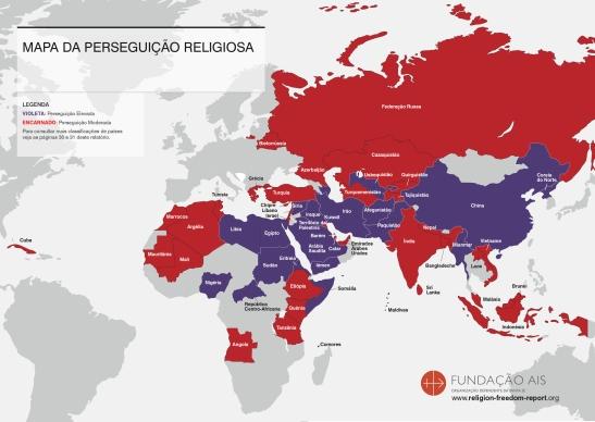 Mapa da perseguição religiosa no mundo