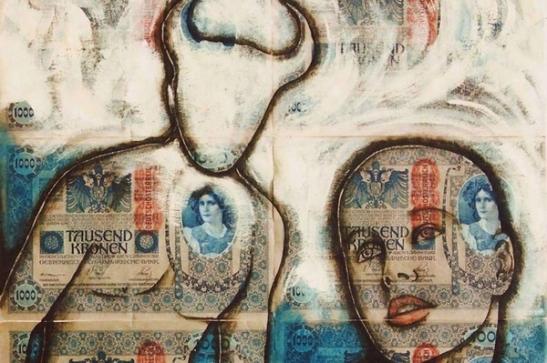 Antonio Natale, Il Ratto d'Europa (The Abduction of Europa), 2011, acrilico su 6 banconote originali Austro-ungariche del 1902; 38,5 x 38,5 cm.