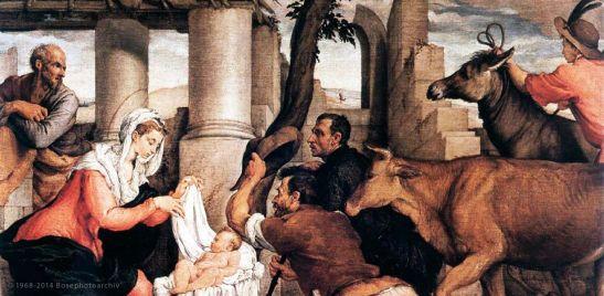 Jacopo Bassano, Adorazione dei pastori, 1550 circa, Gallerie dell'Accademia, Venezia (particolare)