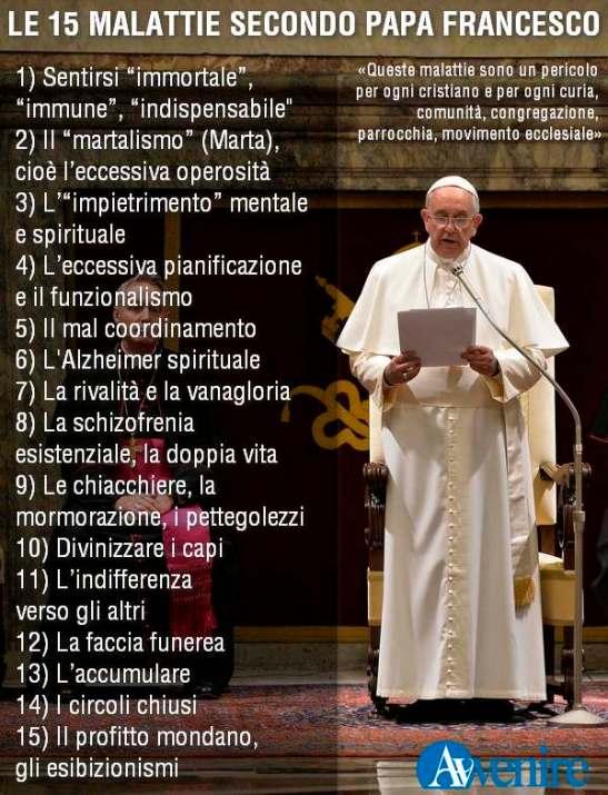 Le «malattie» della Curia secondo il Papa
