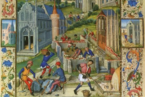 Saint-Denis, la costruzioni di 12 chiese per i dodici apostoli, miniatura del 1448