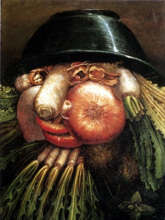 06 Giuseppe Arcimboldo L'ortolano o Ortaggi in una ciotola (Natura morta reversibile) 1590
