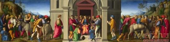 22 Bacchiacca. 1494-1557. Coffre de mariage. Palais Borgherini. Joseph, le Seigneur de l'Egypte visité par ses frères. 1515. Aujourd'hui à la National Gallery, ...