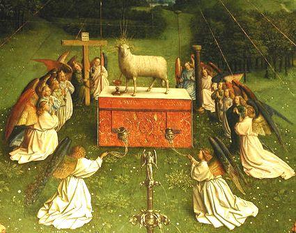 3 Jan van Eyck, nel suo Polittico dell'Agnello (dettglio)