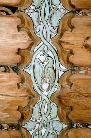 43 Chiesa Riformata in Tenna, XV sec fregio del soffitto ligneo. Safiental Svizzera Cantone dei Grigioni