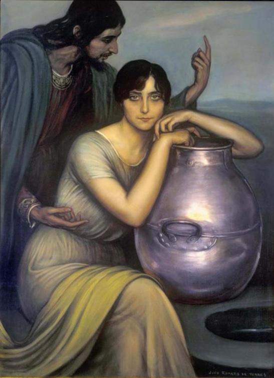 45 Julio Romero de Torres (1874-1930) La Samaritana olio su tela Cordoba