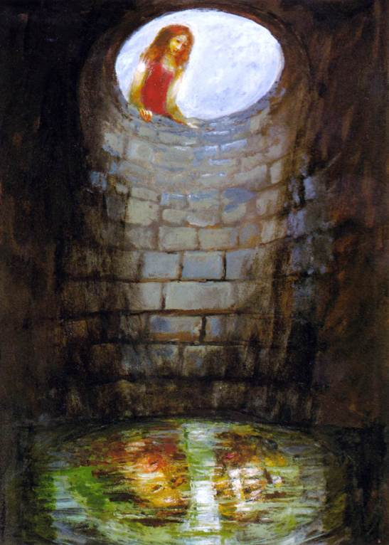45 Sieger Koder, Die frau am Jakobsbrunnen (La donna al pozzo di Giacobbe) olio su tela, 2001, Museo Ellwange Bild und Bibel