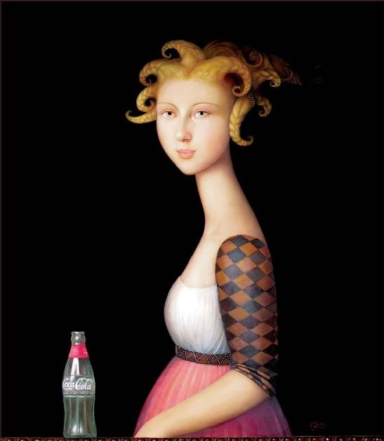 46 Alfonso Rocchi, Nobildonna con Cocacola, olio su tela, cm 45x 51,1 Collezione Privata