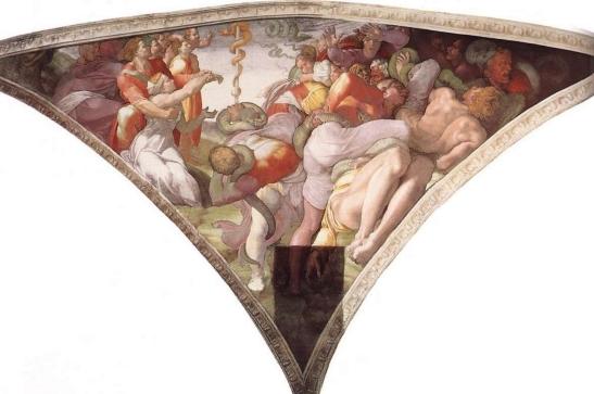 47 Michelangelo Buonarroti Il serpente di rame, affresco 1511