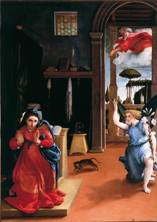 49.1 Giovan Pietro da Cemmo. L'annunciata, 1483, affresco sulla parete destra del Presbiterio, chiesa di San Rocco Bagolino