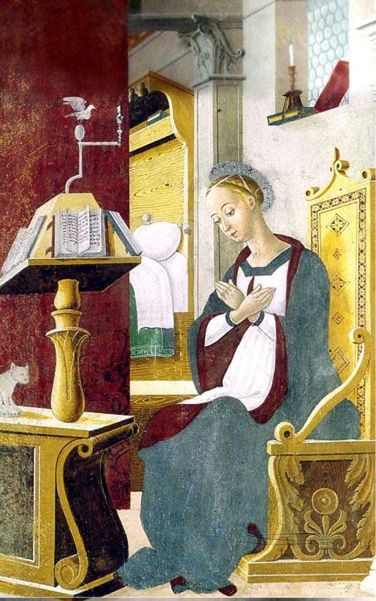 49.2 Giovan Pietro da Cemmo. L'annunciata, 1491, particolare affresco sulla parete destra del Presbiterio, chiesa di Santa Maria Assunta, Esino (BS)