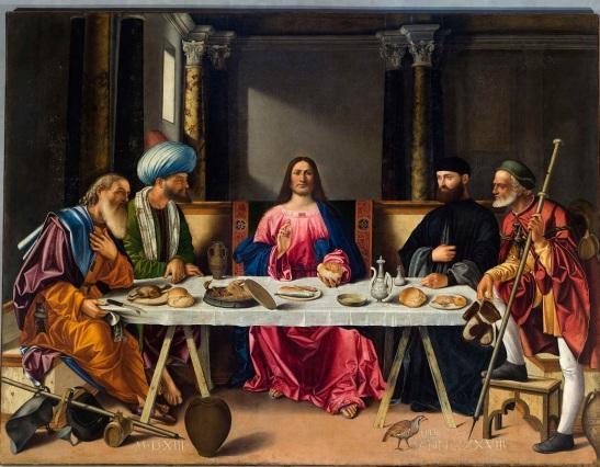 52.1 Vittore Carpaccio, Cena in Emmaus, 1513,  dipinto su tavola, 260 x 375 cm, Chiesa di San Salvador, Venezia