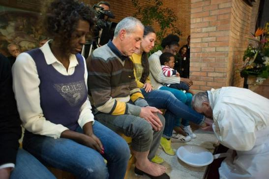 Pope Francis during the traditional Washing of the feet