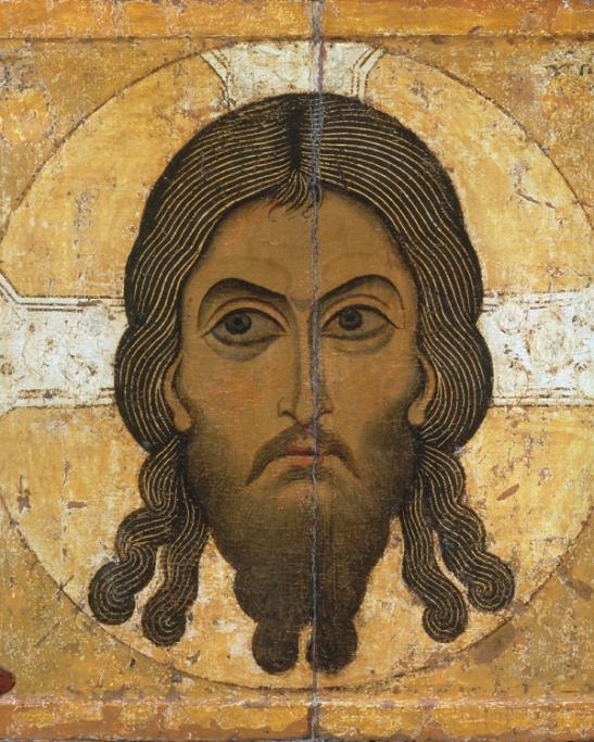 L'uomo della sindone 6 - Scuola di Novgorod, Volto Santo (XII secolo). Mosca, Galleria Tret'jakov (Scala)