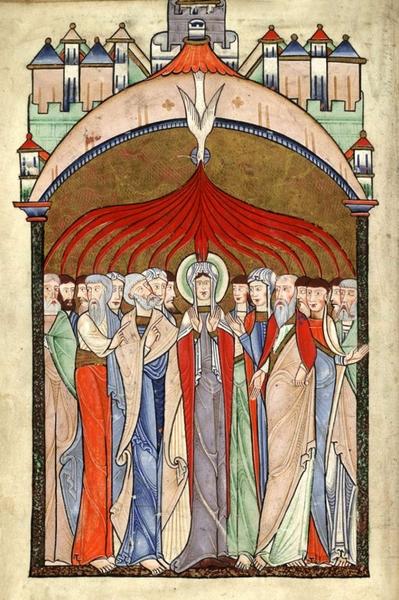 57.2 Il Salterio Hunterland, Pentecoste, Miniatura del XII secolo, Folio 15v, Università di Glasgow, Scozia UK