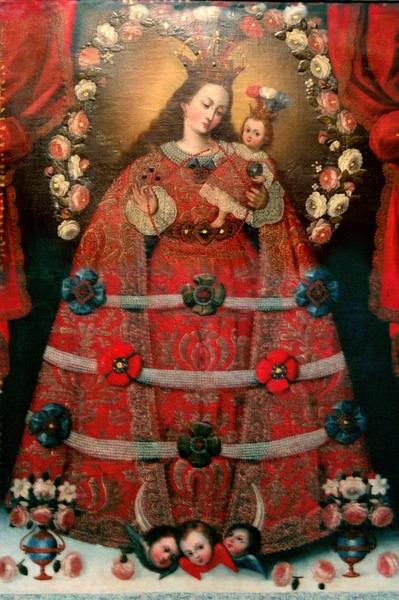 6 Anonimo Escuela Cuzqueňa. Virgen del Rosario de Pomata. Olio su tela, 163 x 110 cm XVIII sec. Museo di Arte Coloniale, Bogotà (Colombia).