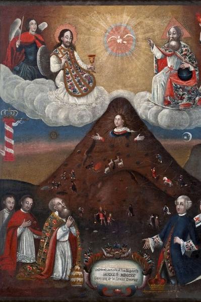 Anonimo. Virgen del Cerro (Madonna del Monte), Olio su tela, 72 × 92 cm.  1701 – 1800 Museo Nazionale d'Arte (La Paz, Bolivia)