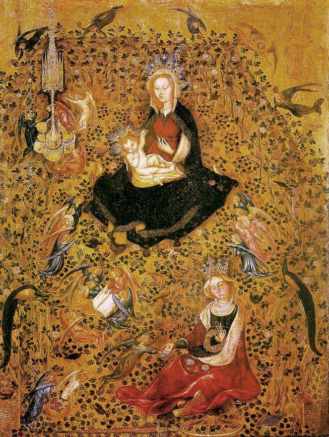 La Madonna nella pittura (1) Michelino da Besozzo (o Stefano da Zevio) Madonna del Roseto 1420-1435 ca - tempera su tavola - Verona, Museo di Castelvecchio
