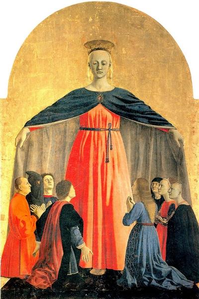 Madonna della Misericordia (particolare dell'omonimo Polittico), Piero della Francesca,1460–1462 Olio e tempera su pannello, 180 cm, Pinacoteca Comunale, Sansepolcro (Arezzo)