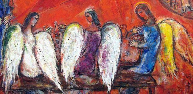 Marc Chagall, Abramo e i tre angeli (particolare), 1966, olio su tela, Museo Biblico Chagall, Nizza, Francia.