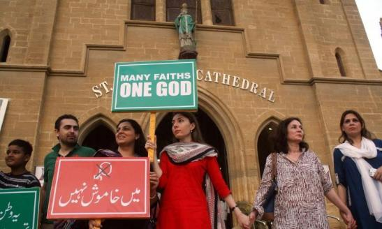 Pakistan - Demonstrators formed a wall around Karachi's Catholic Cathedral last fall during national protests calling for the freedom of minorities to worship...