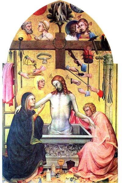 59 Lorenzo Monaco, Cristo in pietà e i simboli della Passione, 1404, cm 268 x 172, tempera su tavola, Galleria dell'Accademia, Firenze
