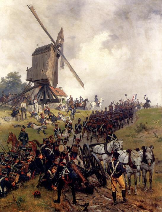 61. Ernest Crofts Napoleone dirige la battaglia di Ligny dal suo posto di comando nel mulino di Naveau (Ligny)-1785 olio su tela Collezione Privata.