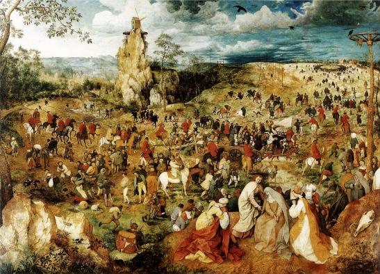 61. Pieter Bruegel (il Vecchio). Salita al Calvario (1564). Olio su tavola di grande formato(124 x 170) conservato al Kunsthistorische Museum di Vienna.