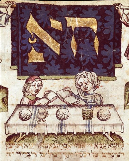 Judaisme : une famille reunie pour celebrer la Paques juive Miniature tiree d'un Mahzor (livre de prieres en hebreu) 15eme siecle Parme, Biblioteca Palatina ******** ******** *** Permission for usage must be provided in writing from Scala.