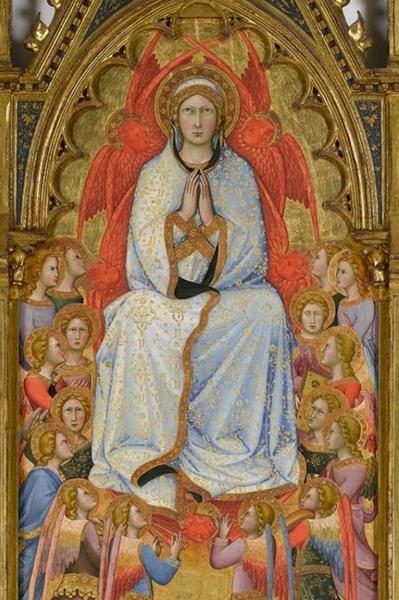 62. Andrea Di Bartolo. L'assunzione della Vergine con San Tommaso e due donatori (ser Palamede e il figlio Matteo), 1395, olio su tavola Virginia Museum of Fine Arts, Richmond