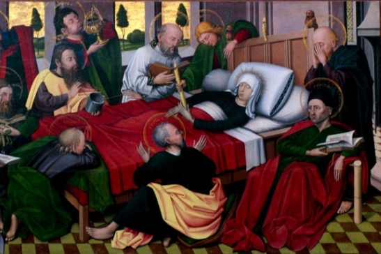 62. Jan Joest (attribuito). Morte di Maria, particolare dell'Altare di Sant'Antonio, 1460, olio su tavola, Chiesa di San Nicola Karkal Germania