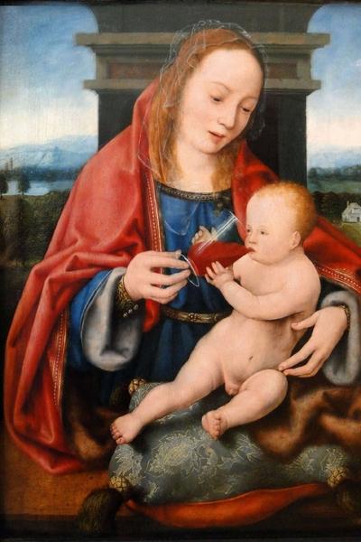 63 Joos van Cleve, La Vergine col Bambino che beve vino, olio su tela. 1540 - Museo delle Belle Arti, Budapest.