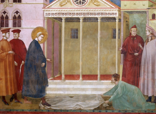 Giotto (Giotto di Bondone 1266-1336): Scenes from the Life of Saint Francis: Homage of a Simpleton - detail. Assisi, Church of San Francesco