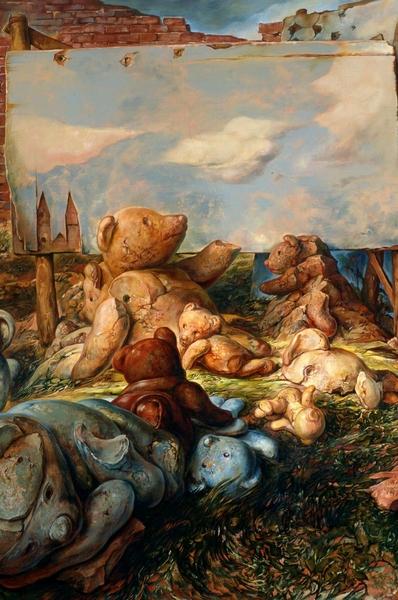 68. Samuel Bak, Il cielo era il limite, olio su tela, 2001 cm. 36 x 36 Collezione Privata