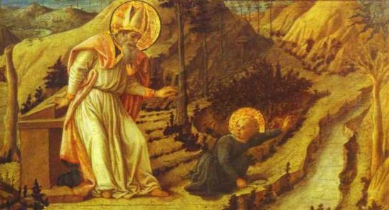 70. Filippo Lippi Apparizione del bambino a sant'Agostino1452-1465 circa tempera su tavola 28×51,5 cm Museo dell'Ermitage, San Pietroburgo