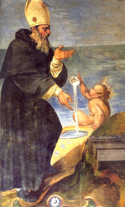 70. Marzio Ganassini, Incontro col Bambino Gesù su una spiaggia, affresco 1610, Chiostro della Chiesa della SS. Trinità a Viterbo