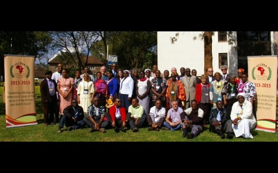 A group photo of theologians and bishops attending the Theological Colloquium on Church, Religion, and Society in Africa at Hekima University College in Nairobi July 17.